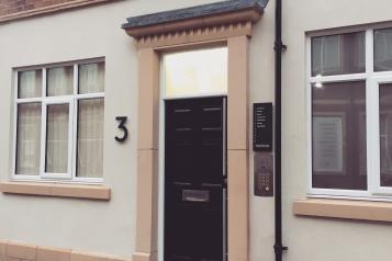 Door with the number three on it