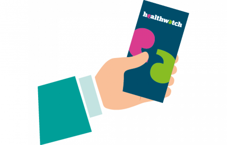 Animation of a hand holding a Healthwatch leaflet